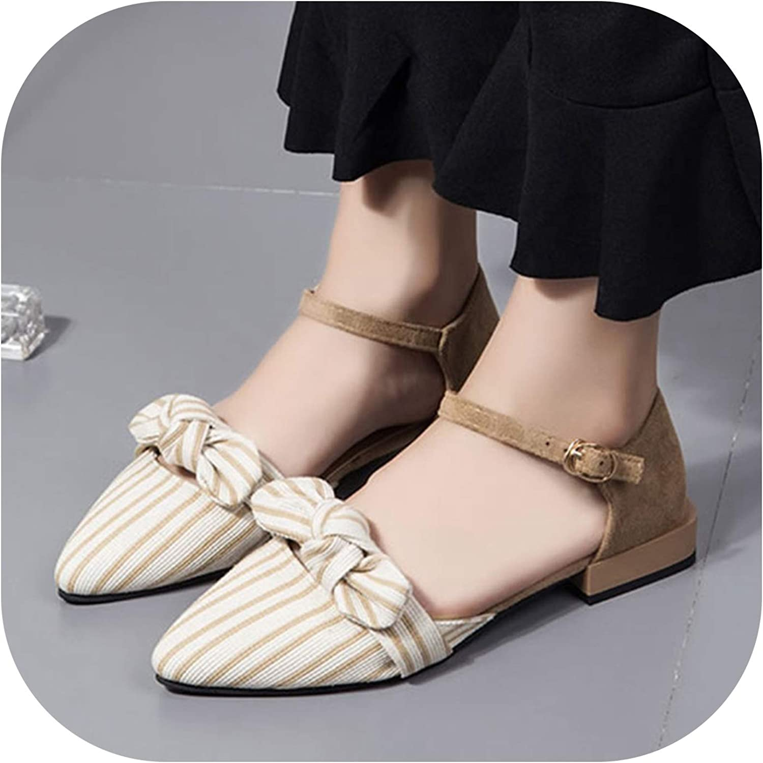 Betterluse Shallow Flats Women Sandals Pointed Toe Ankle Strap Sandals Striped Flat Bow Ladies shoes