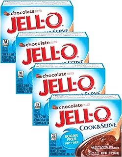 Jell-O Chocolate Pudding, Cook & Serve, Sugar Free, 1.3 oz Box, 4 Packs