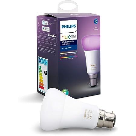 Philips Hue Bombilla Inteligente LED B22, con Bluetooth, Luz Blanca y Color, Posibilidad de Control por Voz