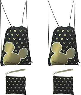 Disney Mickey Mouse Glow in the Dark Drawstring Backpack Pack of 4 (Gold) Includes 2 Drawstrings and 2 Wristlets
