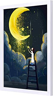 LOWHA moonlight starts Wall art with Pan Wood framed Ready to hang for home , bed room , office living room Home decor han...