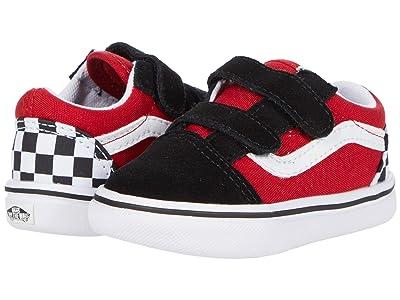 Vans Kids ComfyCush Old Skool V (Infant/Toddler) ((Checkerboard) Black/Red) Boys Shoes