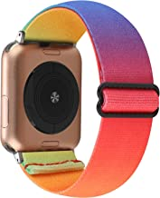 Adjustable Elastic Watch Band Compatible with Apple Watch 42mm 44mm, Nylon Stretchy Loop Bracelet Women Replacement Wristb...