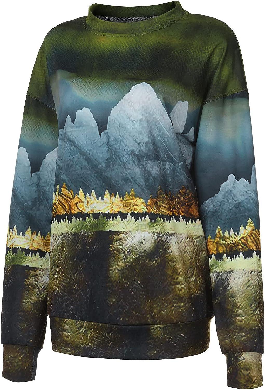 Women's 3D Landscape Printed Pullover Tops Casual Crewneck Long Sleeve Sweatshirt Ladies Fashion Blouse Tops