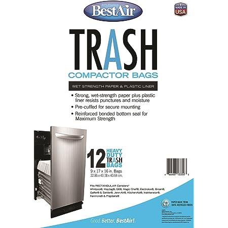 BestAir Trash Compactor Bags 2 pack 16 D. x 9 W. x 17 H,pack of 12
