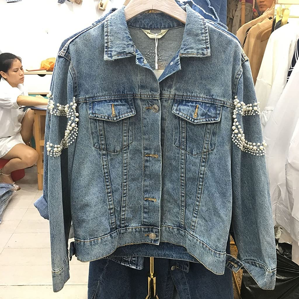 ZZABC NSWT Fashion Women Denim Jacket Pearl Pattern Embroidery Vintage Blue Oversized Blue Loose Short Jeans Jackets Hipster Clothes Coat (Color : Blue, Size : S Code)