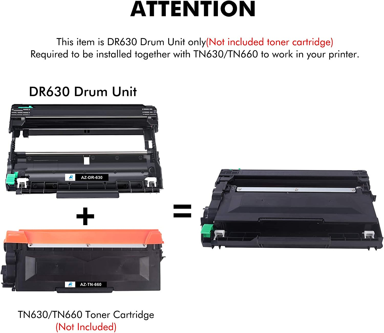 Aztech Compatible Drum Unit Replacement for Brother DR630 DR 630 DR-630 MFC-L2700DW HL-L2300D MFC-L2740DW DCP-L2540DW HL-L2380DW HL-L2305W HL-L2320D HL-L2340DW HL-L2360DW Printer (2 Drum Unit)