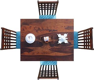 Royal Finish Stride 4 & 6 Seater Dining Set in Natural Premium Furniture Sheesham Wood in Natural Honey Oak/Carbon Black