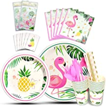 WERNNSAI Flamingo Tableware Set - Tropical Party Supplies for Girls Kids Pink Birthday Baby Shower Includes Cutlery Bag Table Cover Plates Cups Napkins Straws Utensils Serves 16 Guests 146PCS