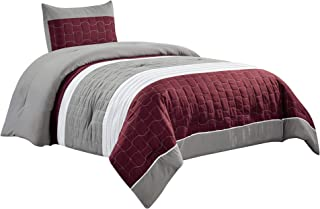 WPM WORLD PRODUCTS MART Embroidered Quilted Down Alternative Comforter Set Purple/Grey/White Queen or Twin Size Bedding In...