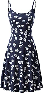 Luckco Women's Sleeveless Adjustable Strappy Summer Floral Flared Swing Dress