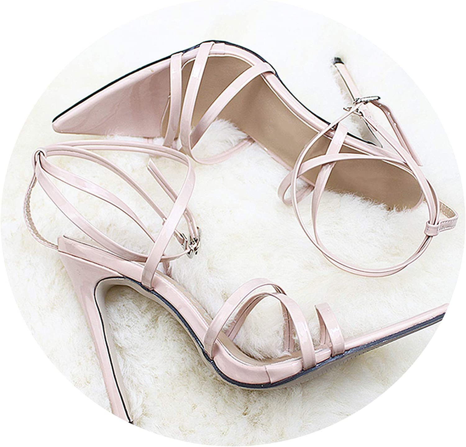 The small cat Women Pumps Ankle Cross Strap Sandals shoes Woman Ladies Pointed Toe High Heels