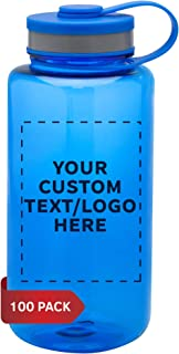 Plastic Sports Water Bottles with Flip Lid 38 oz. - 100 pack - Customizable Text, Logo - Great Reusable Hiking Bottle - Blue