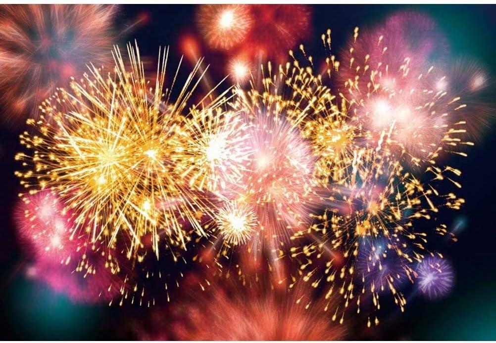DaShan 14x10ft Sparkle Fireworks Backdrop Happy New Year Party Celebration Decor Merry Christmas Photography Background New Year Festival Celebration Kids Adult Portrait Photo Studio Props