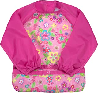 green sprouts Easy-wear Long Sleeve Bib | Waterproof protection from mealtime to playtime | Flipped pocket, soft material, elasticized sleeves, easy clean, 2T-4T, Pink Flower Field