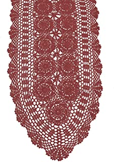 KEPSWET Cotton Handmade Crochet Lace Oval Table Runner Wine Red 14x36 inch