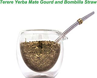 Novomates [NEW] Terere Yerba Mate Gourd Special for a Refreshing Mate Tea Experience / Terere Yerba Mate Cup with Double Wall Glass 7oz (207ml) Including Stainless Steel Bombilla