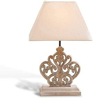 Rustique Lampe de table en laiton antique avec tissu parapluie hauteur 20 cm Lampe de table