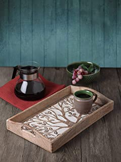 Father's Day Gift Hand Carved Tree of Life Wooden Breakfast Serving Tray with Handle for Tea Snack Dessert Kitchen Dining Serve-ware Accessories 15 x 10 Inches