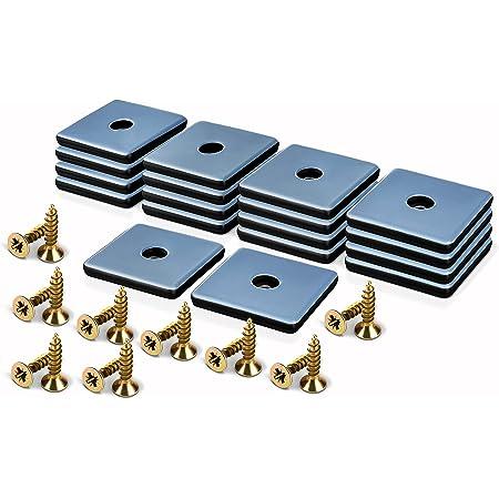 Filzada® 18x Almohadillas de Teflón para Muebles atornillar - 50 x 50 mm (cuadrado) - Deslizadores de muebles/deslizadores de alfombras PTFE (Teflón) incl. tornillos