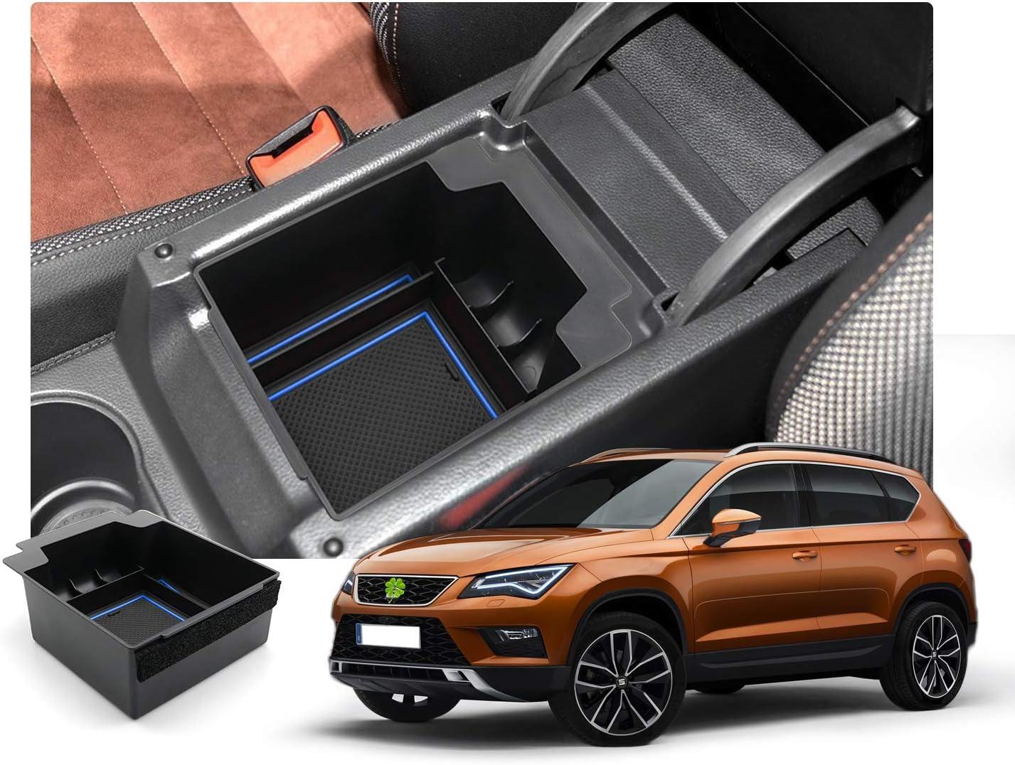 Ruiya Aufbewahrungsbox Aufbewahrungskiste Mittelkonsole Veranstalter Armlehne Box Angepasst Für 2017 2018 2019 Seat Ateca Rot Auto