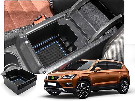 Ruiya Aufbewahrungsbox Aufbewahrungskiste Mittelkonsole Veranstalter Armlehne Box Angepasst Für 2017 2018 2019 Seat Ateca Blau Auto