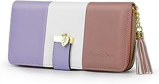 Portafoglio Donna Pelle sintetica Lungo con pendente Portamonete chiusura con cerniera (Viola/Bianca/Rosa)