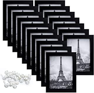 upsimples 5x7 Picture Frame Set of 17,Multi Photo Frames Collage for Wall or Tabletop Display,Black
