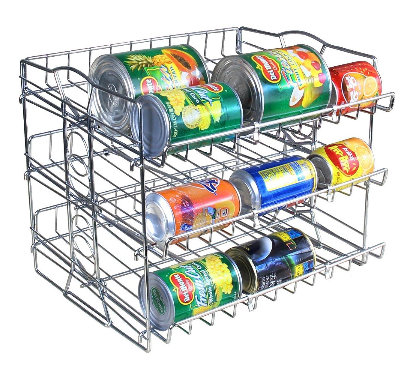 Kitchen 3 Tier Stackable Can Rack Organizer