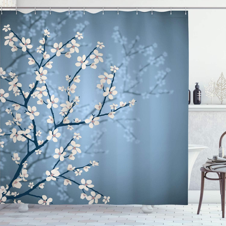 Ambesonne Japanese Shower ◆高品質 Curtain Spring Bloom De 新着 Season Sakura