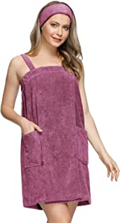 Zexxxy Women Bath Wrap Towel for Shower with Pocket Straps Robe&Facial Headband