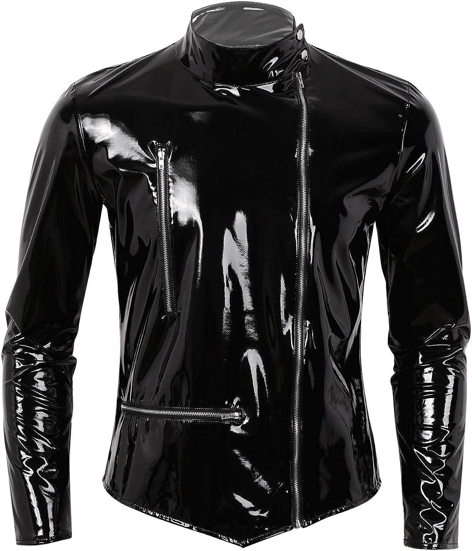 XUNZOO Leather Jacket for Men Motor Biker Racer Mens Faux Patent Leather Jacket Lightweight