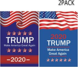 KTCLCATF USA Election Patriotic Trump 2020 Make America Great Again Flags,Outdoor Burlap Garden Flag Decoration Banner for Yard Lawn Kit 12