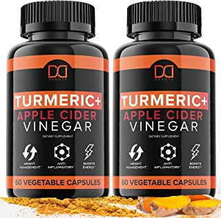Turmeric Curcumin Capsules Bioperine 1650mg Supplements with Apple Cider Vinegar Black Pepper Ginger Extract, Tumeric Orga...