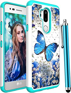 CAIYUNL LG G7 ThinQ Case,LG G7 Case,Glitter Bling Sparkle Studded Rhinestone Dual Layer Hybrid Heavy Duty Armor Shockproof Rugged Protective Phone Case Cover for LG G7 / LG G7 ThinQ -A Blue Butterfly