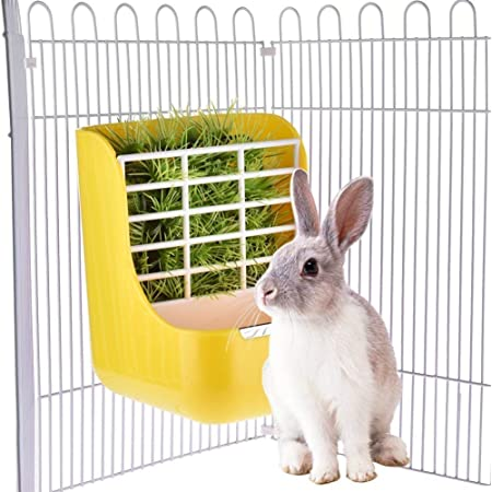 sxbest 2 in 1 Food Hay Feeder for Guinea Pig, Rabbit Feeder, Indoor Hay Feeder for Guinea Pig, Rabbit, Chinchilla, Feeder Bowls Use for Grass & Food