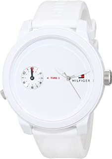 Tommy Hilfiger Men's White Dial Silicone Band Watch - 1791324