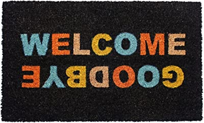 """Rugsmith Multi Welcome, Good Bye Machine Tufted Doormat, 18"""" x 30"""", Natural"""