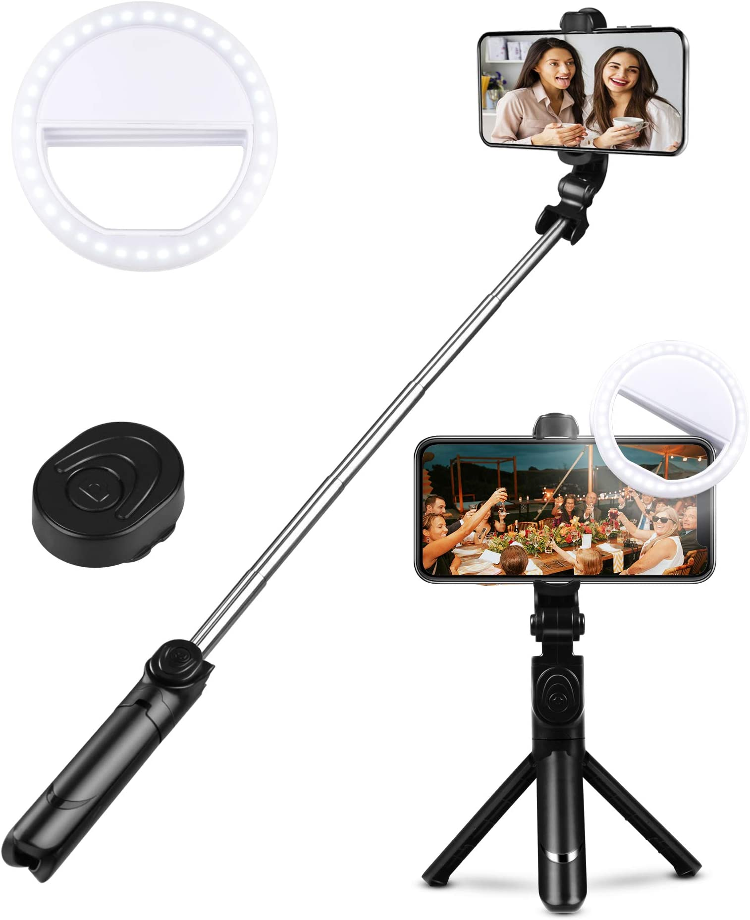 Selfie Stick w Ring Light Dimmable Beauty Ringlight for iPhone ...