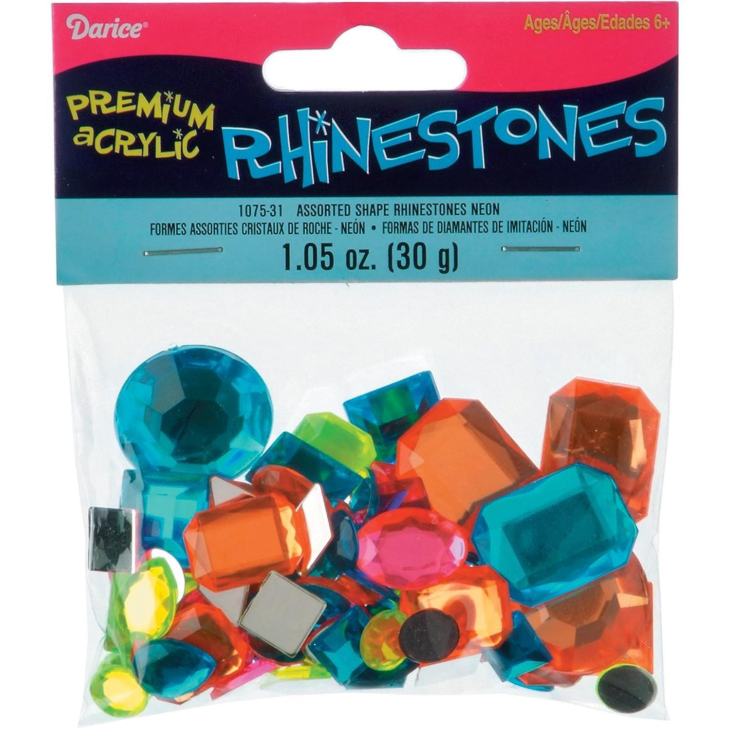 Darice Sew-On Rhinestones 30g-Neon