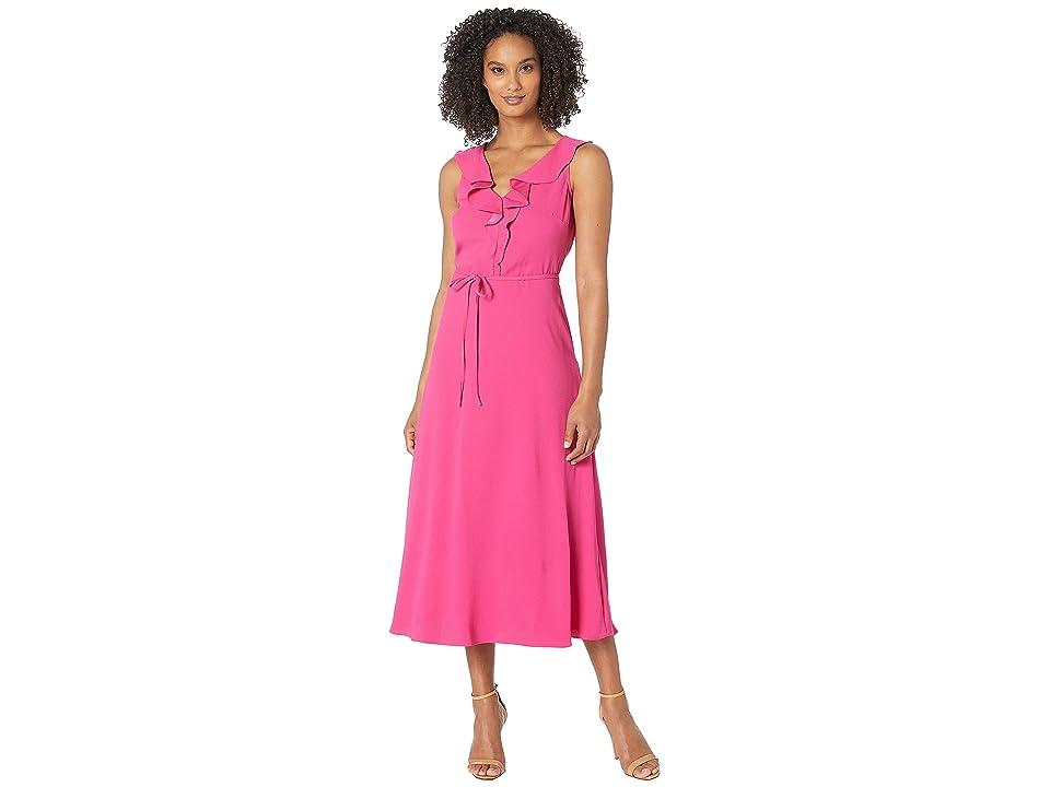 Nine West Crepe Back Satin V-Neck Midi Dress w/ Self Sash (Pinkpunch) Women