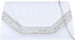 Girly Handbags Damen Plissee Edelsteine Unterarmtasche