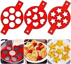 Comius Sharp Pancake Mould Maker Sternform 3er Pack 21 Cavity Antihaft wiederverwendbares Silikon Backen Runde Form Eierringe Muffin Pancake Mold Herz