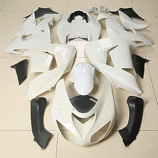 XMT-MOTO Injection ABS Fairing Bodywork Kit fits for Kawasaki Ninja ZX10R 2006-2007, Unpainted White