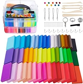 Polymer Clay, 46 Blocks Colored Modeling Clay DIY Soft Craft Clay Set with Sculpting Tools and Accessories in Storage Box,...