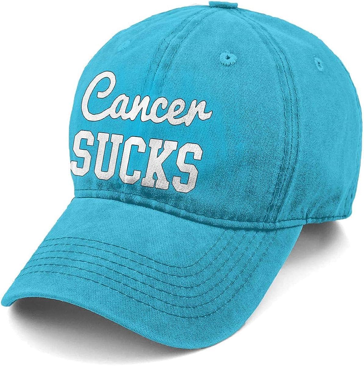 KELLYMOLL Cancer Sucks New Men and Women Adult Comfort Adjustable Denim Hat Truck Baseball Cap
