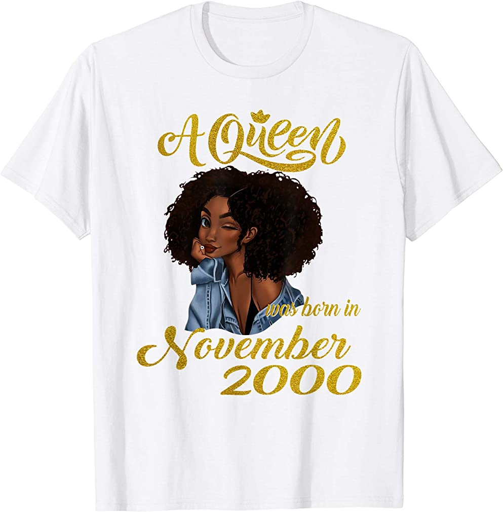 A Queen Was Born In November 2000 19th Birthday Gifts T-shirt