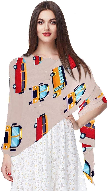 Cartoon Bus Car Pattern Women Soft Chiffon Pashmina Shawl Wrap Scarf for Bridesmaid Wedding Formal Party Evening Dress