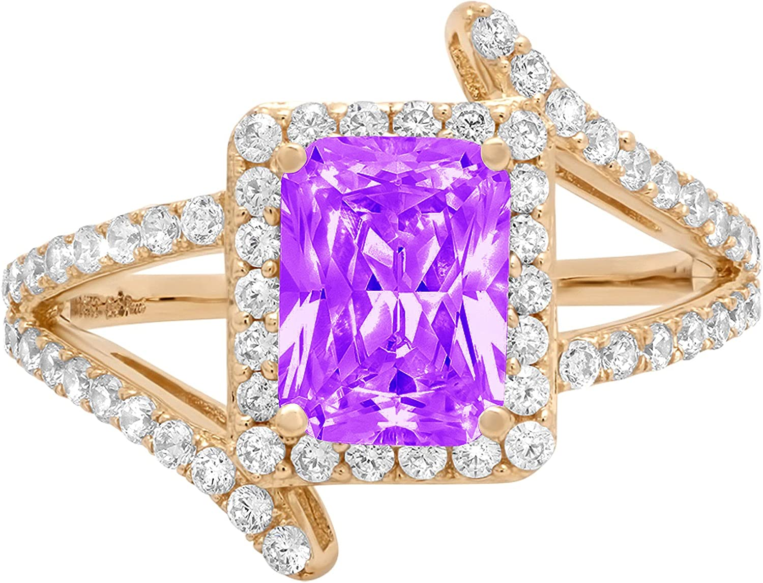 2.04ct Emerald Cut Solitaire with Accent Halo Criss Cross Natural Purple Amethyst Gem Stone Ideal VVS1 Engagement Promise Statement Anniversary Bridal Wedding ring 14k Yellow Gold