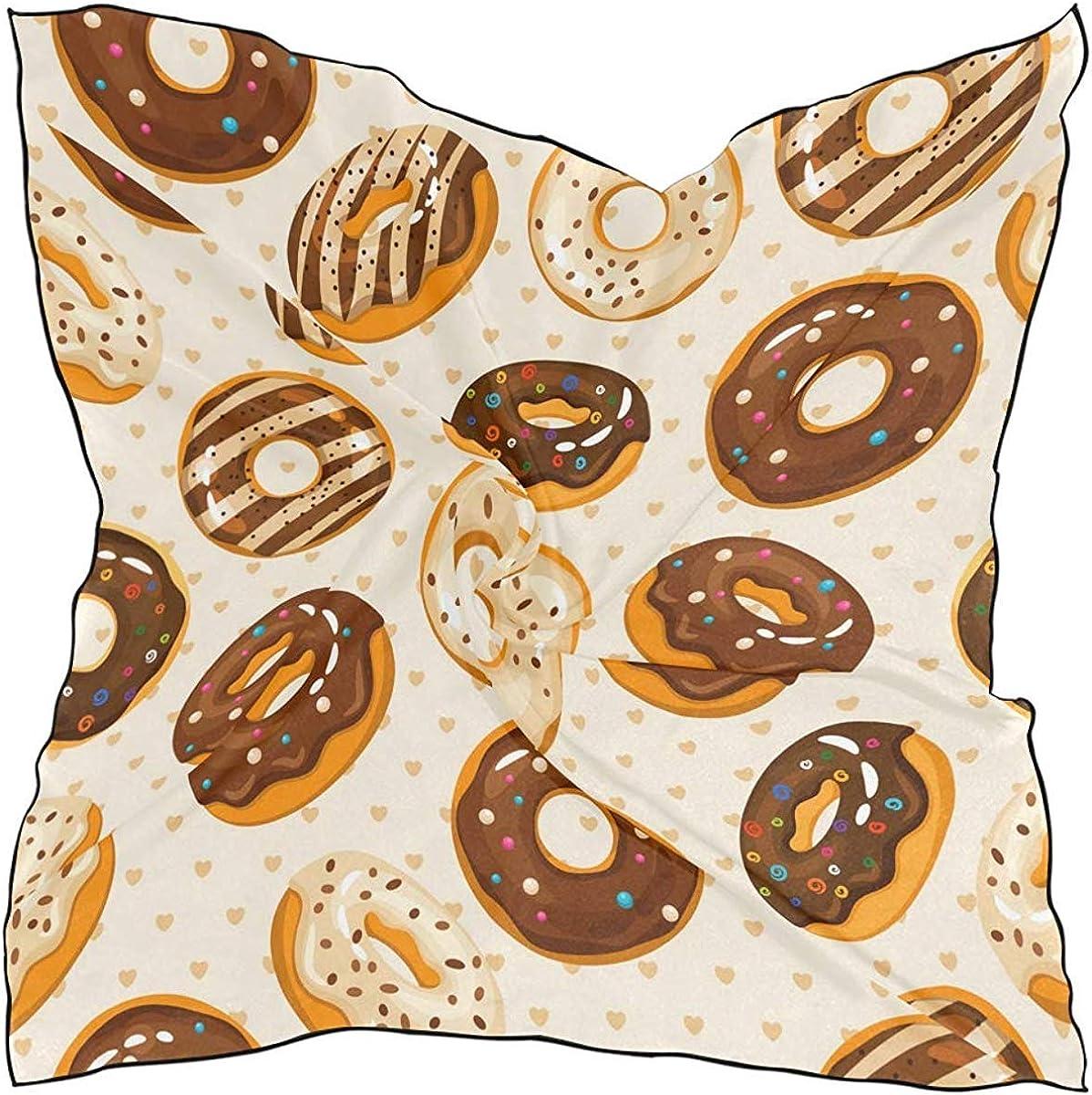 Fashion Silk Scarf Large Square Satin kerchief life Sugar Chocolate Donuts for Women Head scarf Multipurpose Headpiece